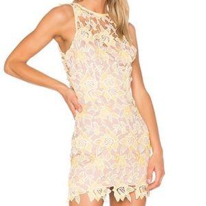 NBD yellow flower lace mini dress BRAND NEW